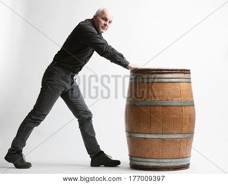 Man With Wooden Barrel