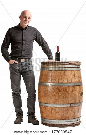Viticulture Concept With A Man, Barrel And Wine