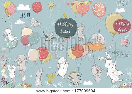 set with cute white flying hares and birds