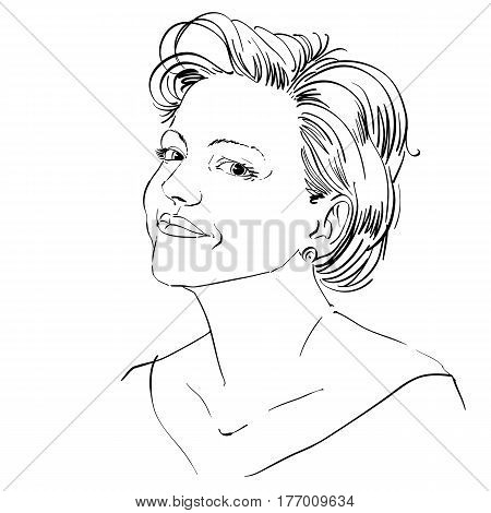 Monochrome vector hand-drawn image peaceful young woman. Black and white illustration of confident girl.