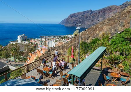Tenerife Canary Islands Spain- February 4 2017. Mirador de El Archipenque popular viewpoint over the cliff of Los Gigantes.
