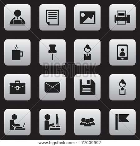 Set Of 16 Editable Bureau Icons. Includes Symbols Such As Floppy, Job Woman, Businesswoman And More. Can Be Used For Web, Mobile, UI And Infographic Design.