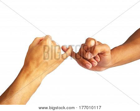 hand gesture is hook each other's little finger