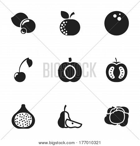 Set Of 9 Editable Vegetable Icons. Includes Symbols Such As Half Tomato, Bilberry, Nectarine And More. Can Be Used For Web, Mobile, UI And Infographic Design.