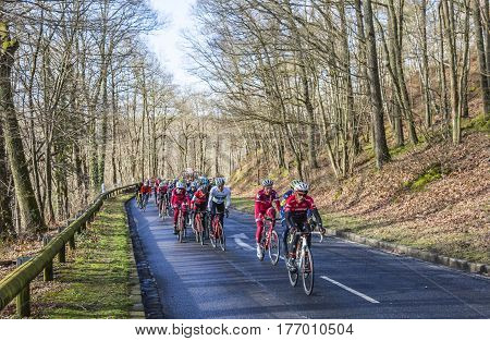 Cote de Senlisse France - 5 March 2017: The Spanish cyclist Alberto Contador of Trek Factory Racing Team riding in front of the peloton on Cote de Senlisse during the first stage of Paris-nice on 05 March 2017.
