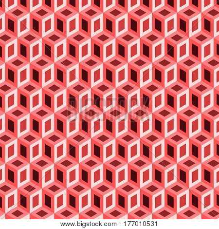 Geometric shape from red cubes vector image