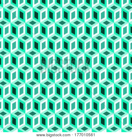 Geometric shape from green cubes vector image