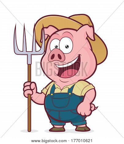 Clipart picture of a pig farmer cartoon character holding a rake
