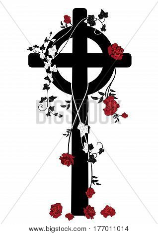vector illustration of crucifix roses and ivy in black white and red colors