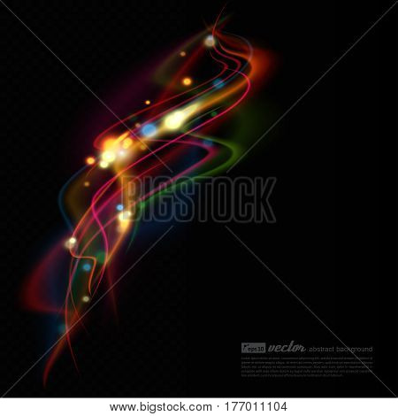 Transparent color waves. Background of glowing light effect. Shining glitter particles allocated on neutral background. Space for your message. Eps 10 vector illustration.