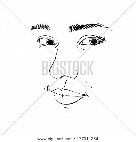 Black and white vector hand-drawn portrait of white-skin flirting woman face emotions theme illustration. Beautiful sexy lady posing on white background girl with delicate face features.