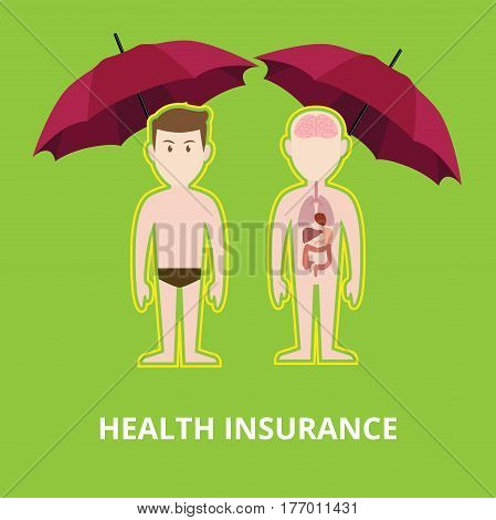 health insurance concept illustration with two naked bodies protected by red umbrella vector