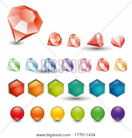 Set Colour Crystals, Button, Spherule
