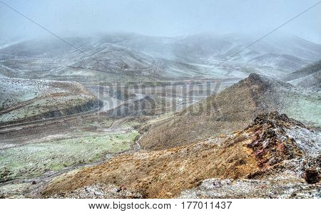 Snowstorm at Tichka pass, the High Atlas mountains - Morocco