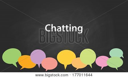 chatting concept illustration white text with colourful callouts and black background vector
