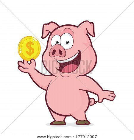 Clipart picture of a pig cartoon character holding gold coin