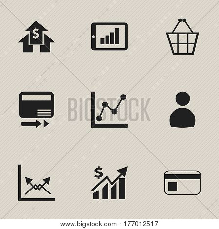 Set Of 9 Editable Logical Icons. Includes Symbols Such As Bar Chart, Bank Payment, Graph Information And More. Can Be Used For Web, Mobile, UI And Infographic Design.