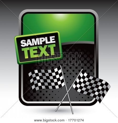 double checkered flags on clean colored halftone background