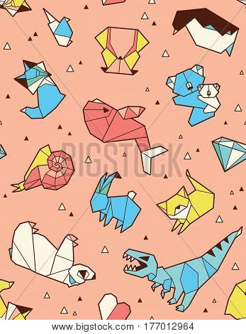 Seamless origami pattern with animals and triangles. Paper bear, cat, owl, whale, dinosaur, koala. Geometric background in blue, yellow and red colors