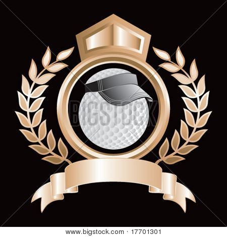 golf ball with visor on bronze royal crest