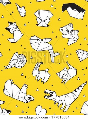 Seamless origami pattern with animals and triangles. Paper bear, cat, owl, whale, dinosaur, koala. Geometric background in yellow and white colors