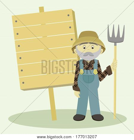 Farmer with pitchfork. Village or countryside human. Vector illustration, EPS 10