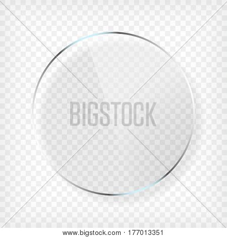 Transparent round circle glass plate mock up. See through element on checkered background. Plastic banner with reflection and shadow. Photo realistic vector illustration