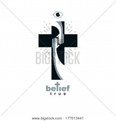 Hand Of Believer Extends To The Hand Of God, Helping And Love Of Jesus.christian Cross True Belief I