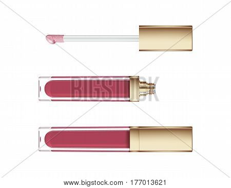 Lip gloss in elegant glass bottle with golden lid, closed and open container with brush, isolated on white background. Liquid lipstick
