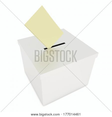 Ballot box with a paper falling inside. 3D illustration on white background.