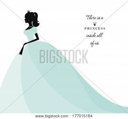 Beautiful princess silhouette in pastel blue dress. Isolated on white. Can be used for bridal shower invitation. Vector.