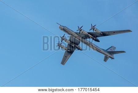 St. Petersburg, Russia -  April 25, 2015: Strategic bomber Tu-95