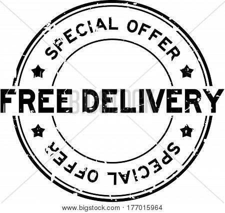 Grunge black special offer free delivery round rubber seal stamp on white background