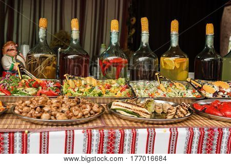 street food with liqueurs in ukrainian style