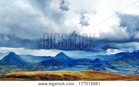 Valley National Park Landmannalaugar. Magnificent Iceland in the August