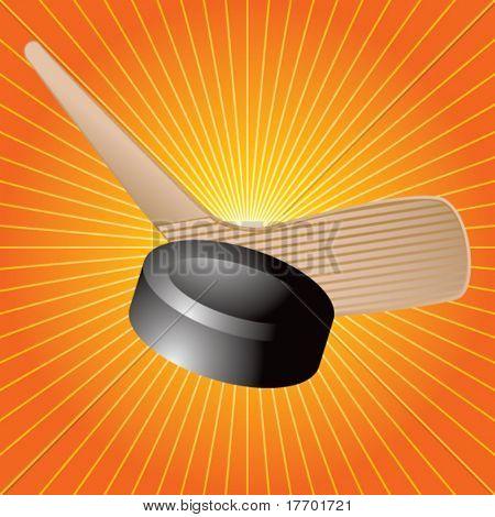 Hockeyschläger und Puck auf orange Stern