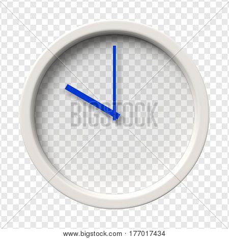 Realistic Wall Clock. Ten oclock am or pm. Transparent face. Blue hands. Ready to apply. Graphic element for documents templates posters flyers. Vector illustration.