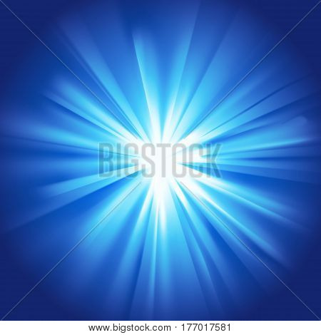 Blue glowing light. Bright shining star. Bursting explosion. Transparent graphic design element. Colorful gradient rays. Glaring effect with transparency. Abstract glowing sparkle. Vector illustration