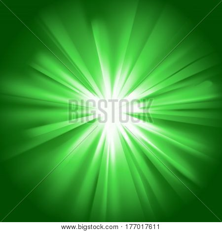 Green glowing light. Bright shining star. Bursting explosion. Transparent graphic design element. Colorful gradient rays. Glaring effect with transparency. Abstract glowing sparkle. Vector illustration