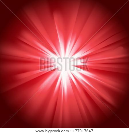 Red glowing light. Bright shining star. Bursting explosion. Transparent graphic design element. Colorful gradient rays. Glaring effect with transparency. Abstract glowing sparkle. Vector illustration