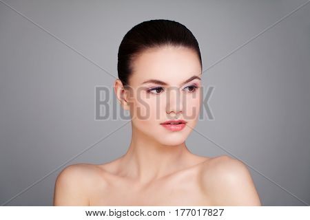 Cute Woman Spa Model with Healthy Skin. Spa Beauty Facial Treatment and Cosmetology