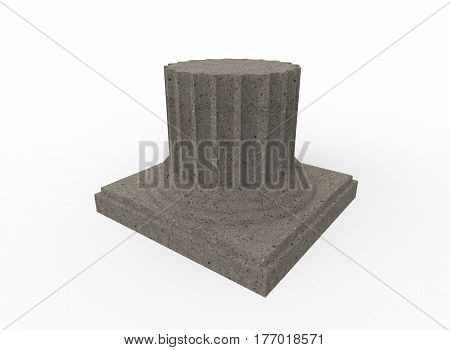 3d illustration of cracked greek column. white background isolated. icon for game web.