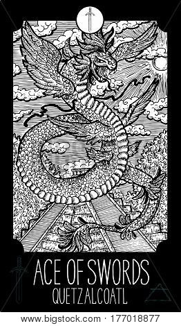 Ace of swords. Quetzalcoatl. Minor Arcana Tarot card. Fantasy line art illustration. Engraved vector drawing. See all collection in my portfolio set