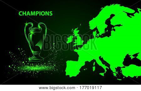 Champions Cup with a map. Green Neon style sports background.