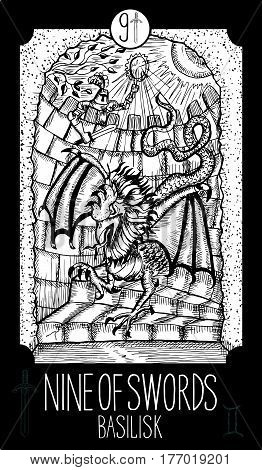 Nine of swords. Basilisk. Minor Arcana Tarot card. Fantasy line art illustration. Engraved vector drawing. See all collection in my portfolio set