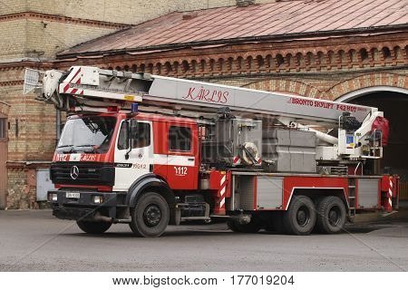 RIGA, LATVIA - MARCH 17, 2017: Mercedes Benz Fire truck with Bronto ladder in Latvia