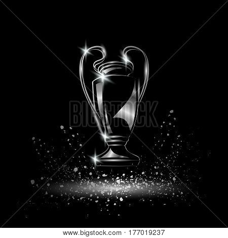Champions Cup. Metallic Chromed Soccer trophy. Football League winner cup
