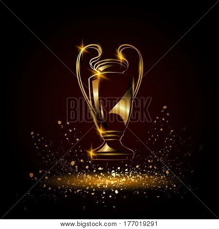 Champions Cup. Metallic Golden Soccer trophy. Football League winner cup