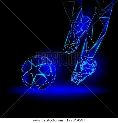 Polygonal Football Kickoff illustration. Soccer player hits the ball. Sports blue neon background.
