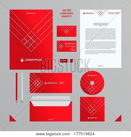 Corporate identity business template. Red branding set. Business set such as business cards, letterhead, folder, envelope